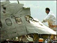Part of wrecked plane