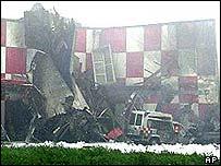 Wrecked hangar