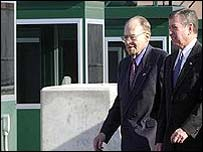 US Attorney General John Ashcroft with Canadian Deputy Prime Minister Herbert Gray