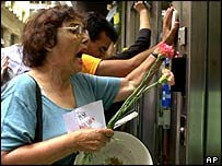 Argentines protest outside a bank in February 2002 to try to get at their savings