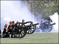 The Kings Troop Royal Horse Artillery perform a 41-gun salute in Hyde Park, London