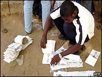 Inec official counting ballots in Kano