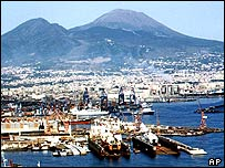 Naples with Vesuvius in the background