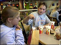 Children eating takeaway meals