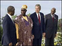 Presidents Thabo Mbeki of South Africa; Olusegun Obasanjo of Nigeria; George W Bush of the USA; Abdoulaye Wade of Senegal