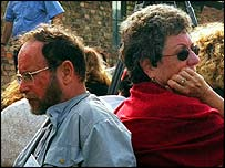 Gabi Salomon (left) and Esti Niman, listen to a Holocaust survivor