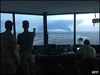 US soldiers in control tower at Baghdad international airport