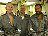 from left, Rob Abernethy, HMAS Newcastle s Commanding Officer Captain Gerry Christian and Mike Noel-Smith on board HMAS Newcastle.