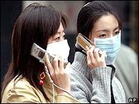 Hong Kong residents wearing masks to protect against Sars