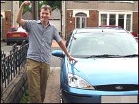 Stuart Hughes with keys to his new car