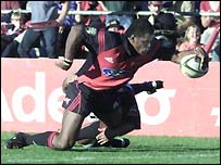 Marika Vunibaka goes over for a try for Canterbury Crusaders