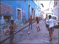 Children play on the streets of Salvador