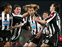 Pavel Nedved is congratulated on his opener for Juventus