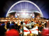 Artist's impression of the new Wembley Stadium