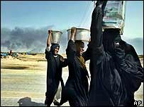Women with pots of water on their heads