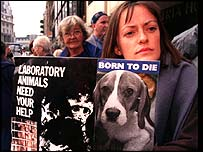 Campaigners against animal experiments on a march