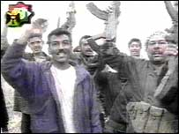 Celebrations around the grounded Apache, as reported on Iraqi TV