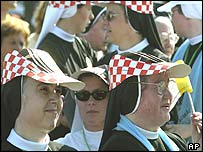 Nuns await the arrival of the Pope in Dubrovnik, Croatia