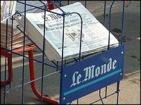 Le Monde on sale in Paris