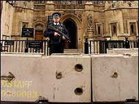 Concrete blocks outside Palace of Westminster