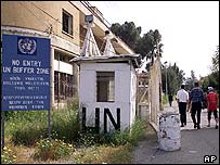 UN buffer zone dividing north and south Cyprus