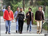 Turkish Cypriots cross to the Greek side in April 2003, for the first time in 29 years