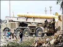 Abandoned Iraqi Scud missile near Baghdad