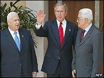 From left to right: Israeli Prime Minister Ariel Sharon, US President George W Bush and Palestinian Prime Minister Mahmoud Abbas, also known as Abu Mazen