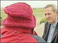 The mother of a paedophile victim with BBC reporter James Westhead