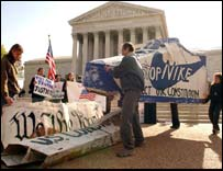 Anti sweatshop protesters at Supreme Court as it hears Nike case