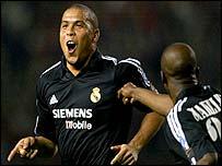 Makele goes to celebrate with Ronaldo