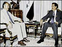 George Galloway meeting Saddam Hussein last year