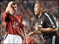 Man Utd captain Roy Keane looks on as Real's Ronaldo seals his hat-trick