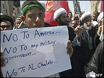 Iraqi Shias stage anti-US protest in Karbala, 23 April 2003
