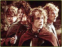 Lord of the Rings hobbits with Billy Boyd front