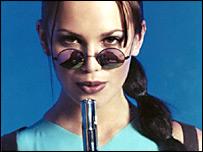 Model Lucy Clarkson as Lara Croft