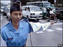 Female traffic policewoman in Dhaka