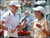 Beaten women's singles finalist Kim Clijsters and Ai Sugiyama on their way victory