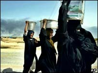Women carrying water in Basra