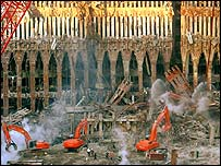 Construction workers at the site of the former World Trade Center shortly after the 11 September attacks