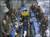 Rescuers with the two rowers