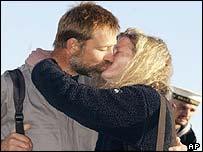 Mike Noel-Smith greets wife Elizabeth