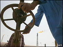 An oil worker at the Shuaiba refinery near Basra