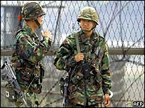 South Korean soldiers at the edge of the demilitarised zone between North and South Korea