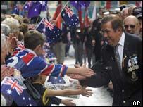 War veteran greets onlookers in Sydney