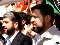 Hamas leader Ramadan Abdullah al-Shallah (right)