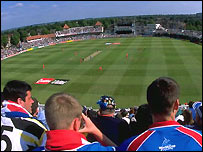 Fans watch a one-day international at Trent Bridge