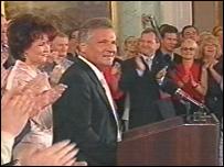 President Kwasniewski addresses jubilant crowd