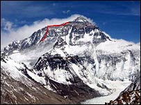 Everest, with the route taken by Conan Harrod