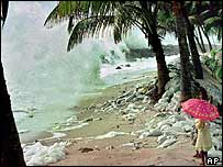 Monsoon rains lash the coast of southern Kerala state